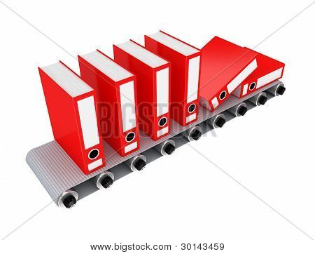 Red office folder on conveyor.