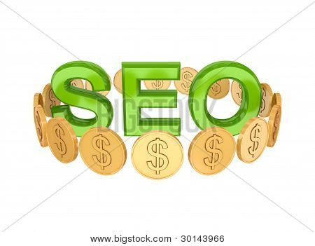 Word SEO and golden coins around.