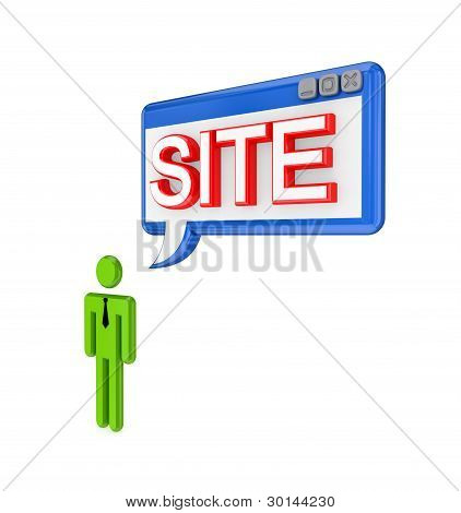 3d small person and PC window with a word SITE.