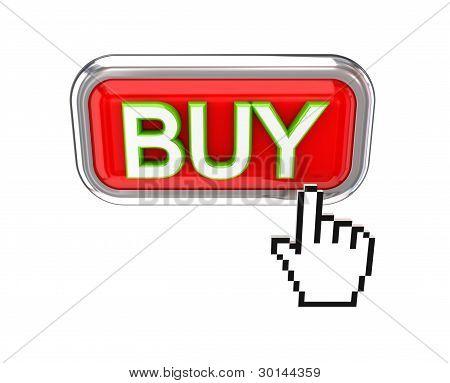 Cursor empujando rojo compra botón.