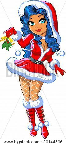 Pretty Cartoon Christmas Girl with Mistletoe