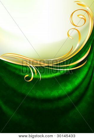 Green fabric curtain with ornament, background, Eps10
