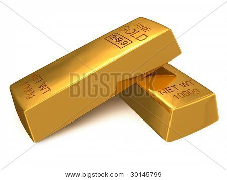Bank gold bars isolated