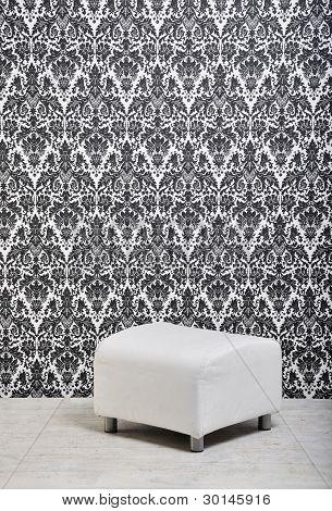 white leather pouf in studio