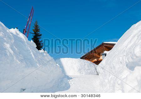 Snow Path To An Alpine Mountain Ski Hut