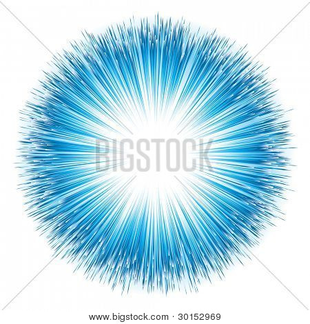 Blue light explosion. Vector illustration