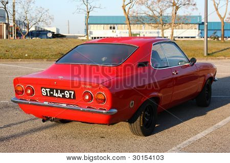 Marinha Grande, Portugal - February 11: A Opel Manta Parked During