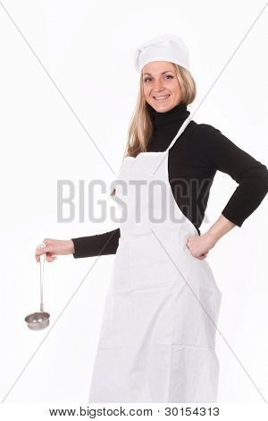 The image of cook with a scoop under the white background