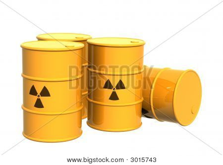 Four Yellow Tanks With A Radioactive Symbol