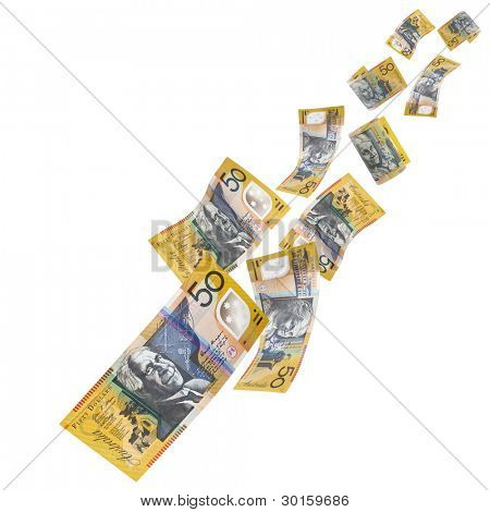 Falling Australian fifty dollar notes, isolated on white background.