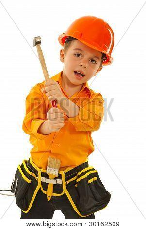 Kid Boy With Hammer
