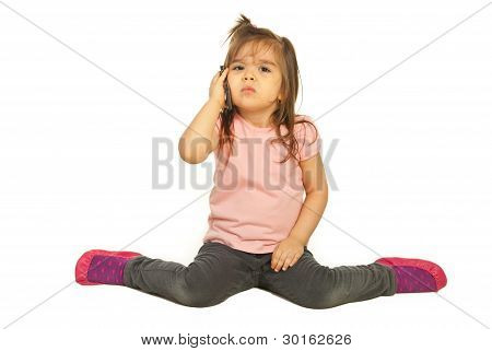 Upset Girl Speaking By Phone Mobile