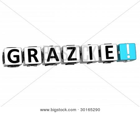 The Word Grazie - Thank You In Many Different Languages.