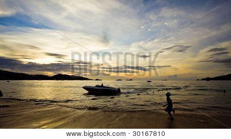 Man Running On The Beach In Thailand