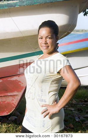 Smiling Native Woman Big Corn Island Nicaragua