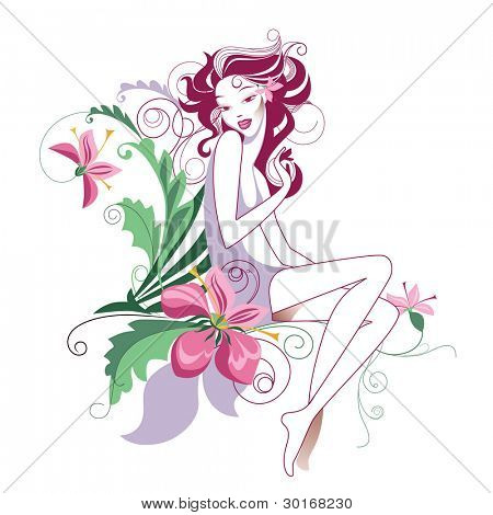 decorative vector pics of the girl with flowers