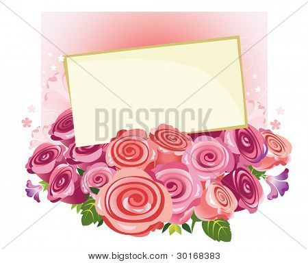 bouquet of roses with a letter of congratulations