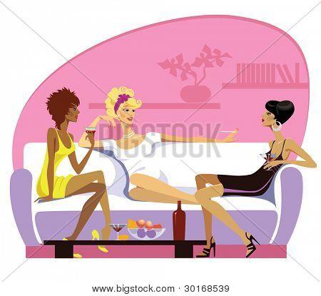 vector illustration of three women on rest