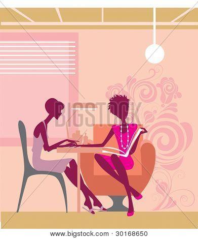women in a beauty salon getting a manicure