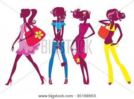 silhouette of four girls