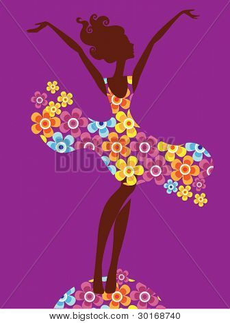 silhouette of girl in dress with flowers