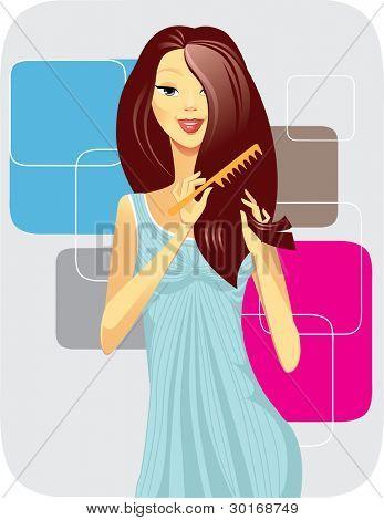 menina escovas de cabelo