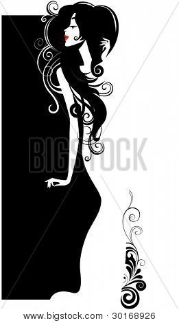 silhouette woman in white dress
