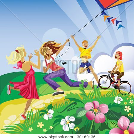 children play in a kite
