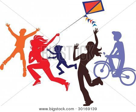 silhouette of a children playing in a kite