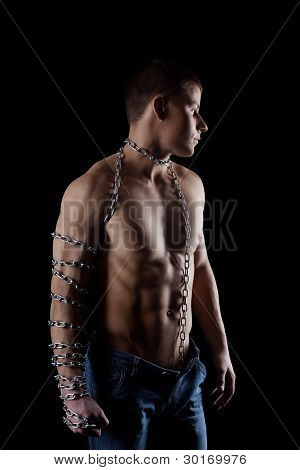 yong beauty naked man with chain on hand