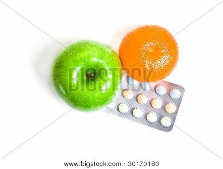 Juicy Orange, Green Apple And Vitamins