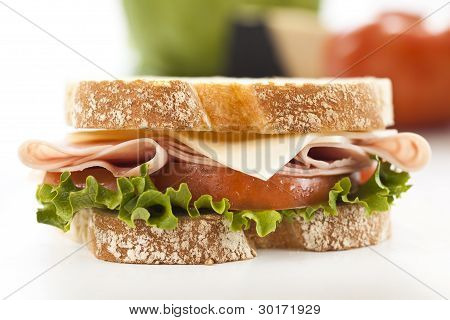 Closeup Fresh Ham And Cheese Sandwich