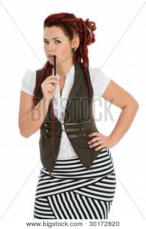 Beautiful Girl Isolated On White Background