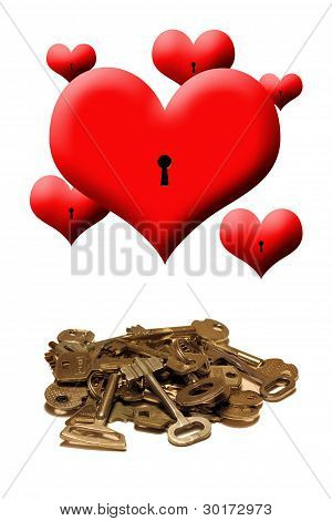 Hearts And Keys On A White Background