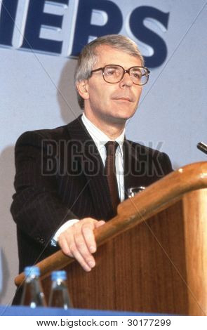 LONDON - JUNE 27: Rt.Hon. John Major, British Prime Minister and Conservative party Leader speaks at a party conference on June 27, 1991 in London. He was Prime Minister from 1990 - 1997.