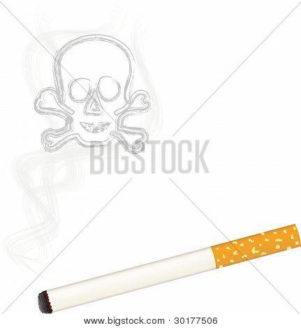 Burning cigarette + skull in smoke