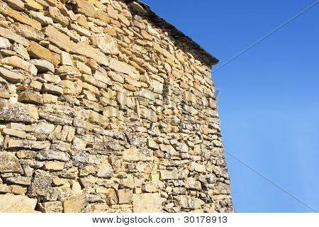 Old wall from stone at Kastoria Makedonia Greece