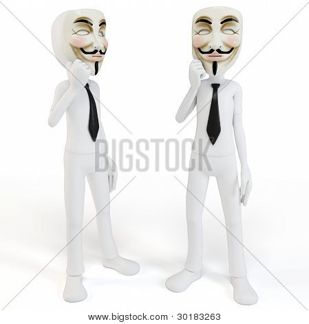 3D Man With Vendetta Mask Anonymous Face
