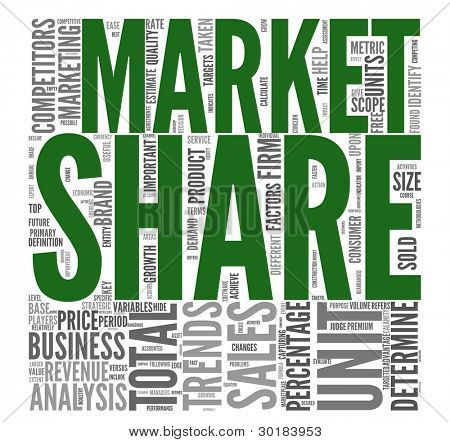 Market share and sales concept in word tag cloud on white background
