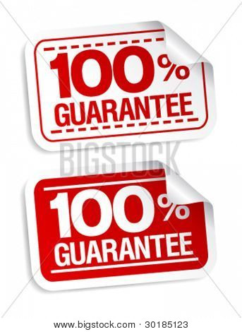 100% guarantee stickers set.