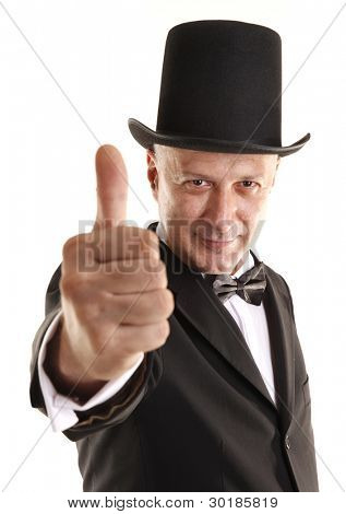 Man with top hat shows thumb up sign