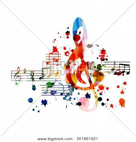 poster of Music Background With Colorful G-clef And Music Notes Vector Illustration Design. Artistic Music Fes