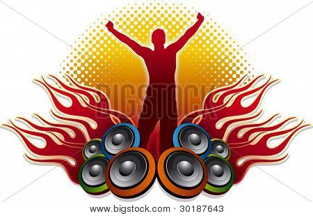 speakers, flames and Dj. A winner's story. Seperated layers in vector file.