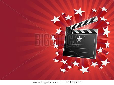 clapboard and stars. All elements are layered separately in vector file.