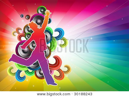 Jumping girl. Abstract music concept. Easy editable separated layers in vector file.