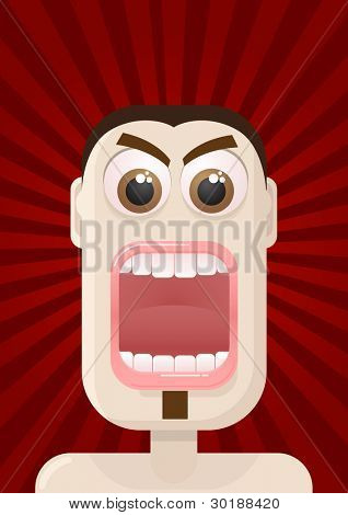 Vector angry man portrait. All elements are layered separately in vector file.