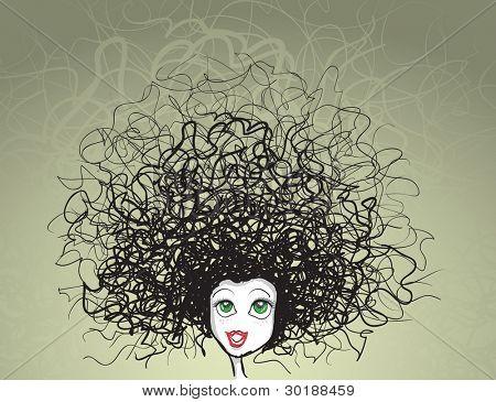 Retrato de la muchacha del vector. corte de pelo loco. Todos los elementos son capas por separado en el archivo de vector.