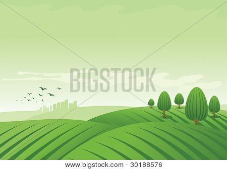 vector landscape illustration.
