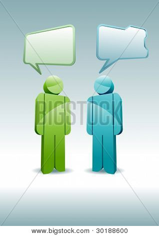 Two 3D characters having a discussion.