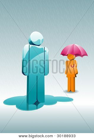 Rainy day. 3d man and woman under the rain. Elements are layered separately in vector file. Easy editable.